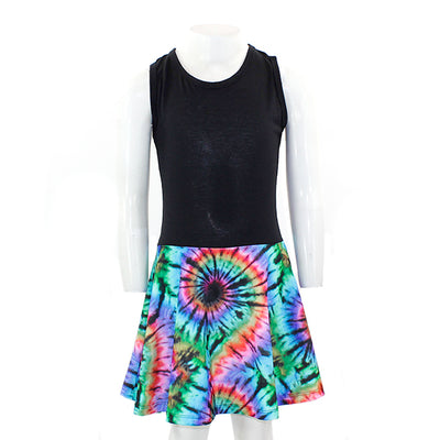Black Tank Dress with Tye Dye Brite Black Printed Bottom