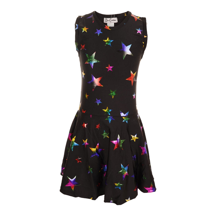 Sleeveless Dress with All Over Multi Stars