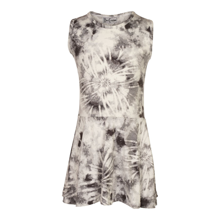 Black & White Sleeveless Tie Dye Dress