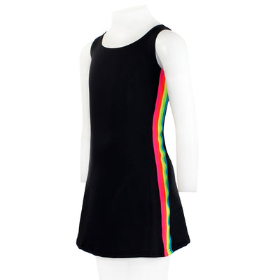 Dress Sleeveless with Neon Multi Stripe On Side