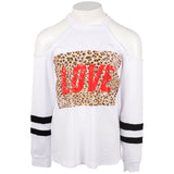 Long Sleeve Cold Shoulder with Leopard Love