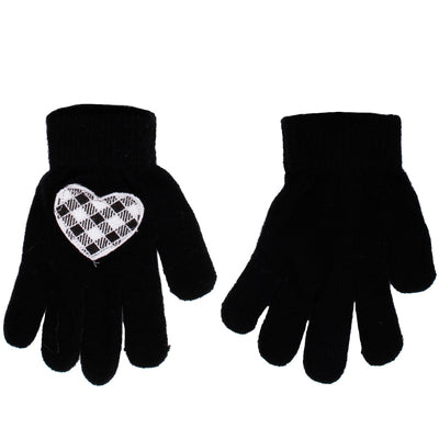 White Black Checkered Heart Patch Gloves - Fits Sizes 7-14