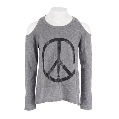 Long Sleeve Cold Shoulder Top with Black Peace Sign