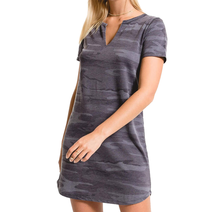 Camo Split Neck Mini Dress