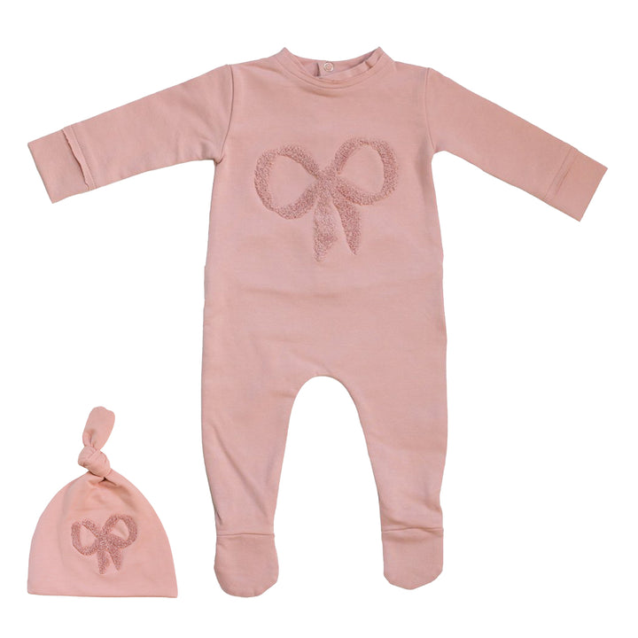 Mauve Bow Footie and Hat Set