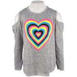 Hacci Long Sleeve Cold Shoulder Top Neon Heart Stones