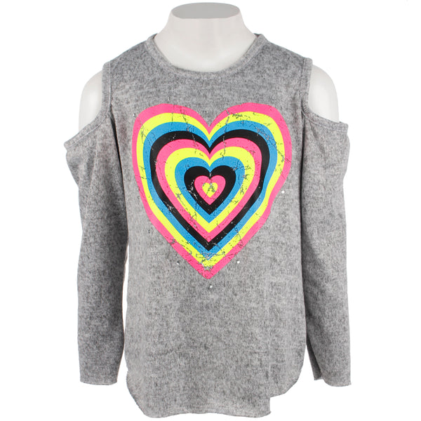 Hacci Long Sleeve Cold Shoulder Top with Neon Heart Stones