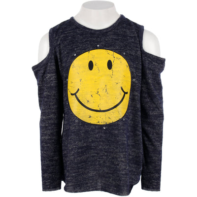 Hacci Long Sleeve Cold Shoulder Top with Smiley Stones