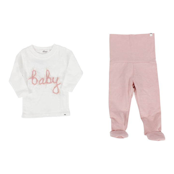 Two Piece Set Long Sleeve Top with Pink Baby Script & Footie Legging