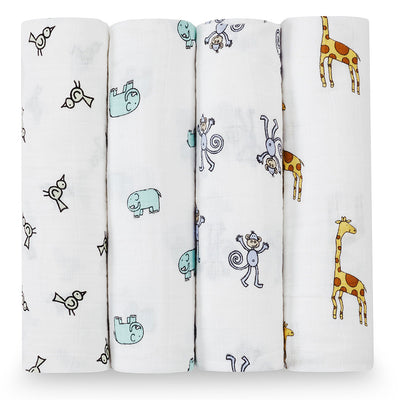 Four Pack Swaddles Jungle Jam