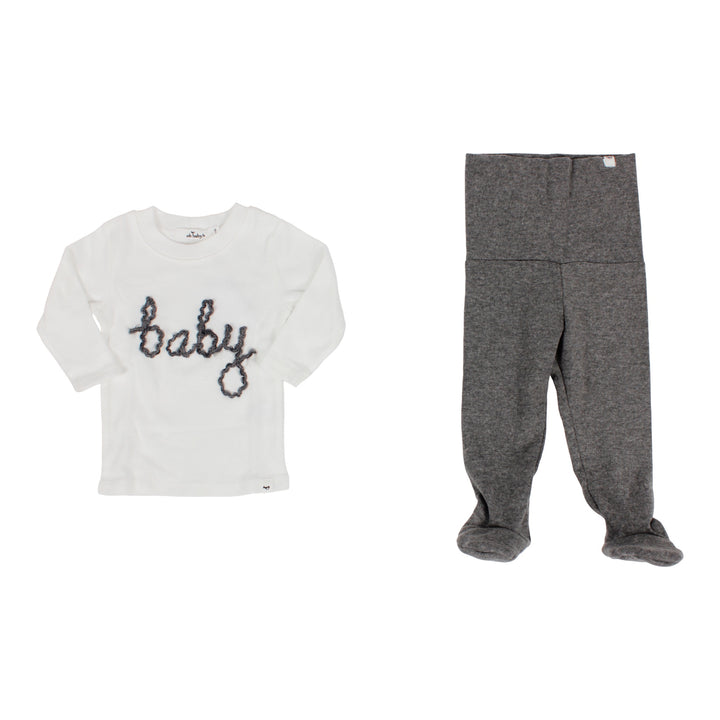Two Piece Set Long Sleeve Top with Charcoal Baby Script & Footie Legging