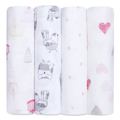 Four Pack Swaddle Love Bird