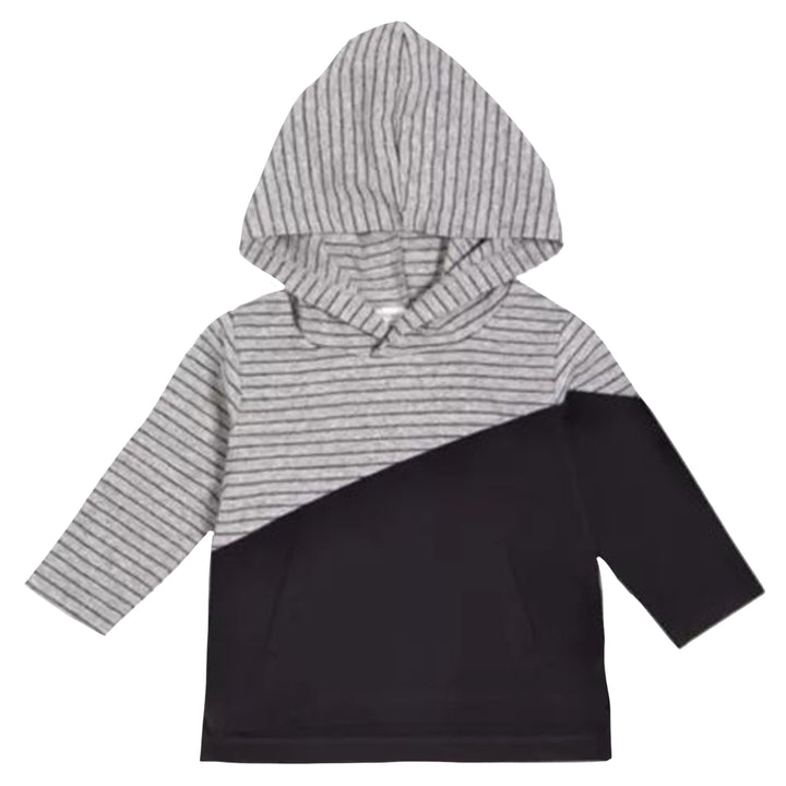 Stripe and Solid Hoodie