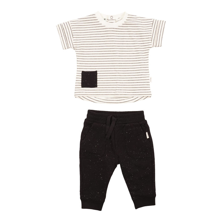 Short Sleeve Stripe Tee with Jogger