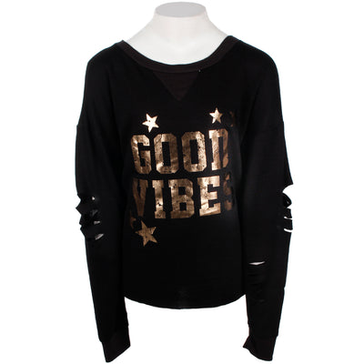 Long Sleeve Top with Cut Sleeves and Good Vibe Stars