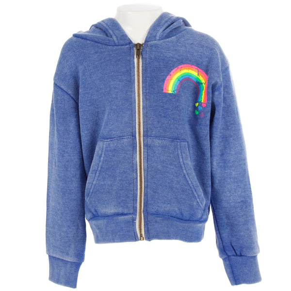 Zip Sweatshirt with Rainbow Hearts