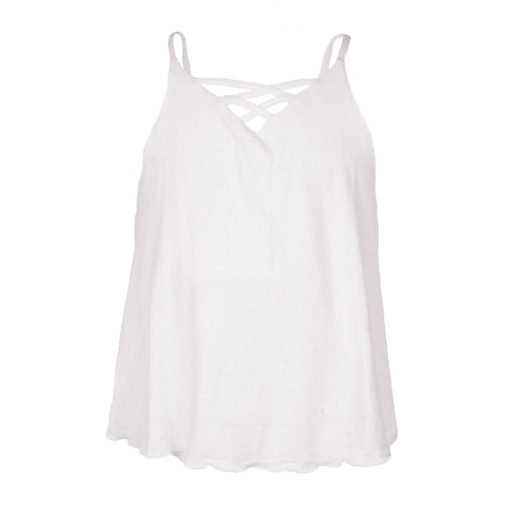 Criss Cross Front Flowy Tank Top