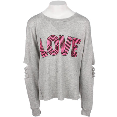 Long Sleeve Top with Cut Sleeves and Neon Love