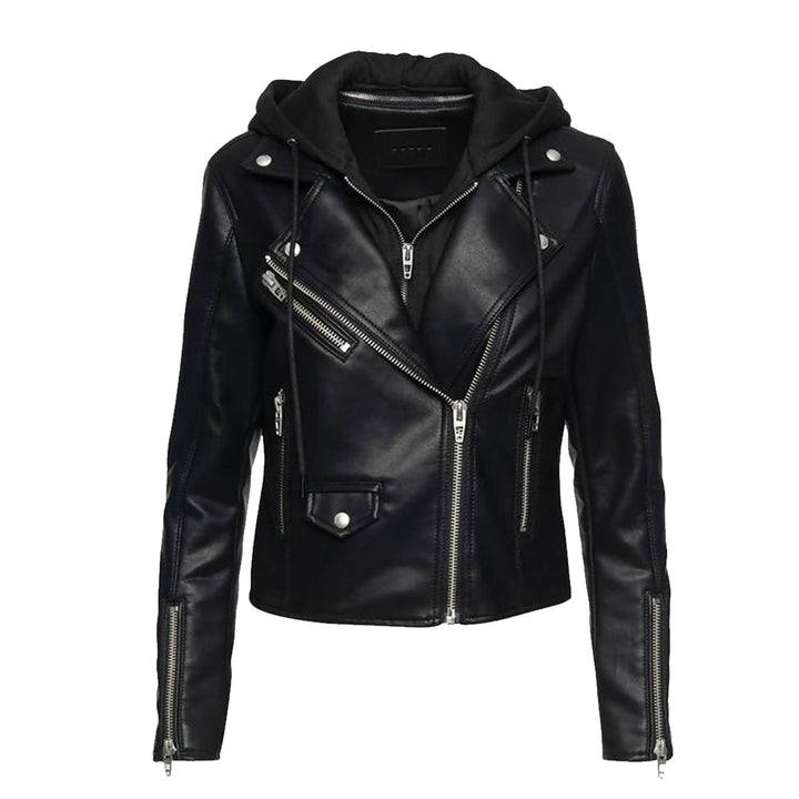 Night Rider Hooded PU Moto Jacket