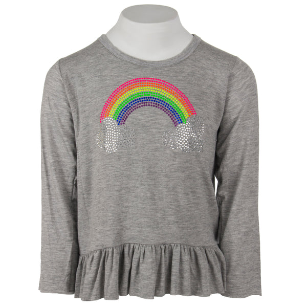 Long Sleeve Ruffle with Neon Rainbow Clouds