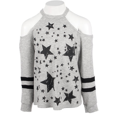 Long Sleeve Cold Shoulder with Stars