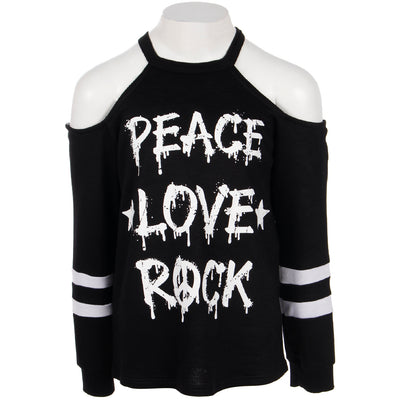 Long Sleeve Cold Shoulder with Peace Love Rock