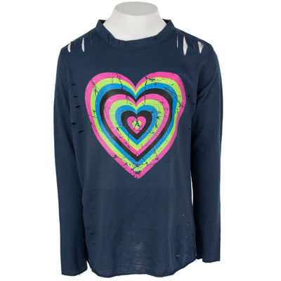 Long Sleeve Top Cuts with Neon Heart