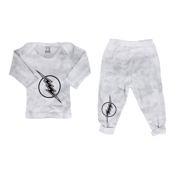 Two Piece Set Grey Tie Dye with Lightning Bolt