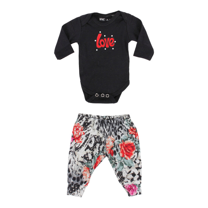 2 Piece Pant Set Love Black Floral