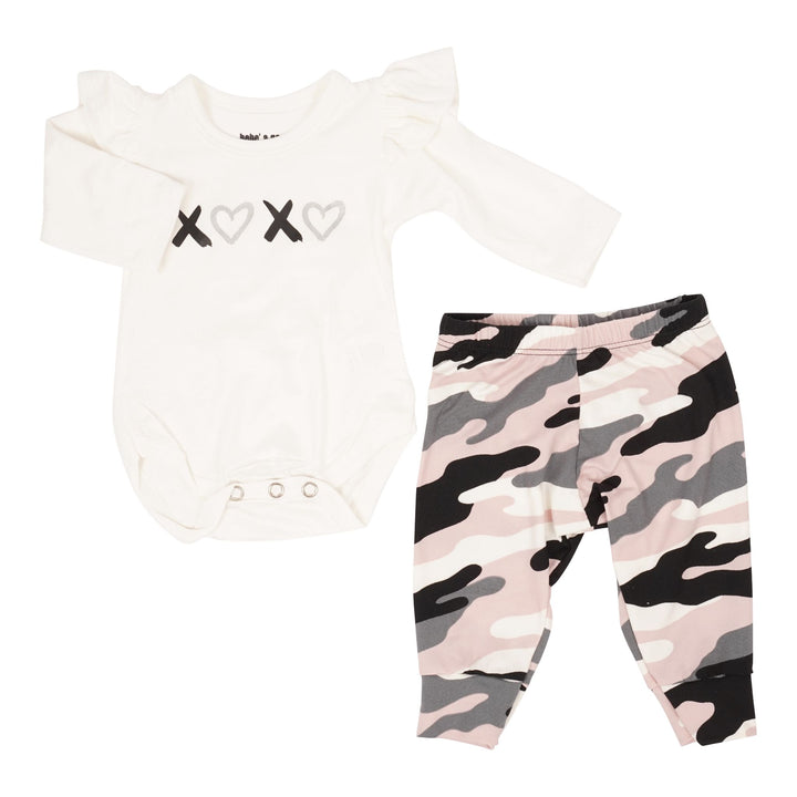 Two Piece Set with Ruffle Onesie & Brushed Camo Pants