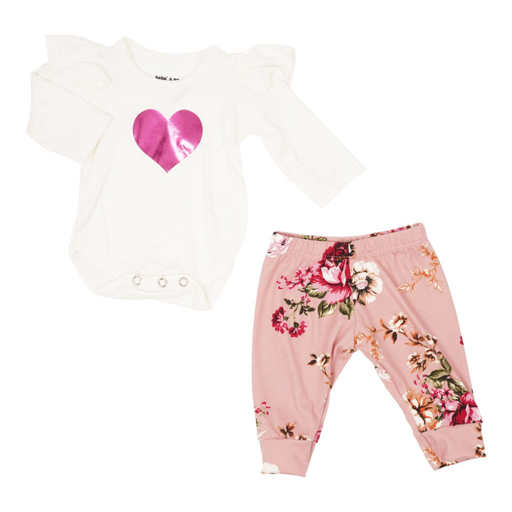 Two Piece Set with Ruffle Heart Onesie & Flower Pants