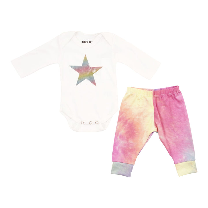 2 Piece Onesie Set Whitw with Rainbow Tie Dye
