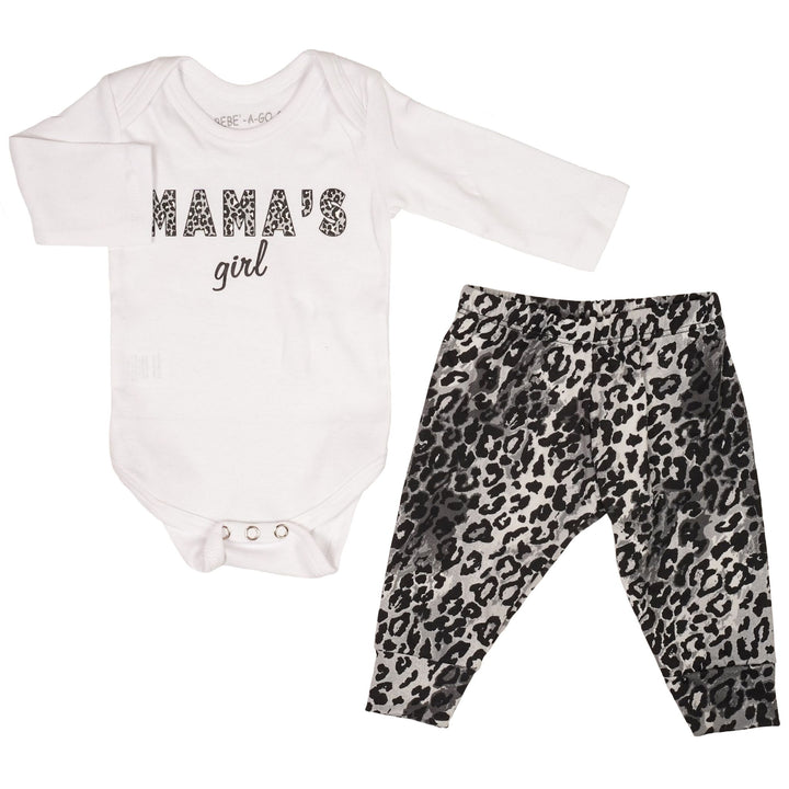 Mamas Girl Grey Cheetah Onesie Take Home Set