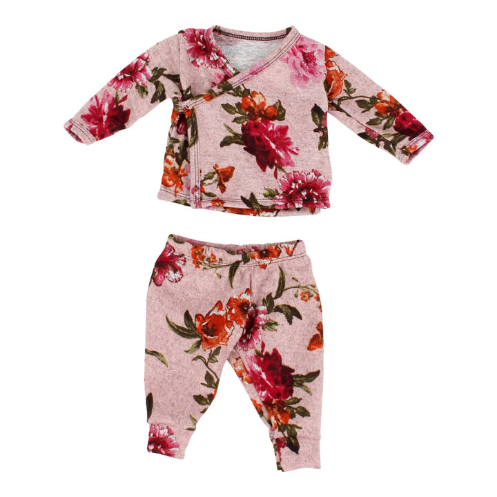 2 Piece Side Snap Mauve Floral