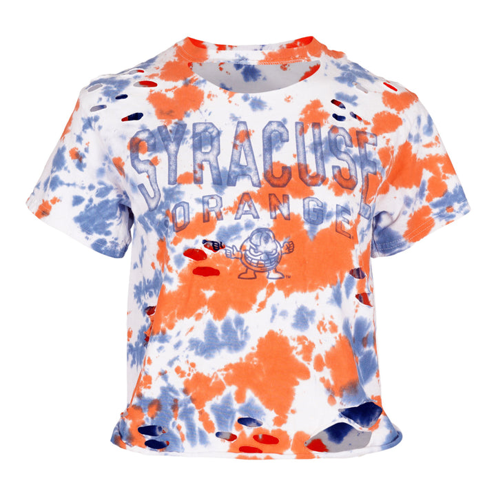 Orange Blue Tie Dye Syracuse Crop Tee
