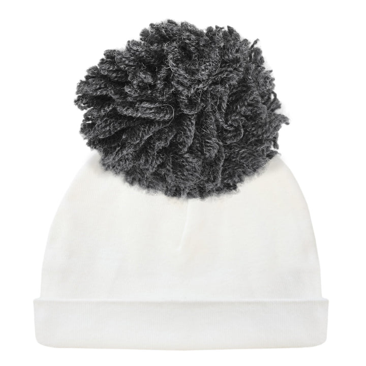 Hat with Charcoal Yarn Pom