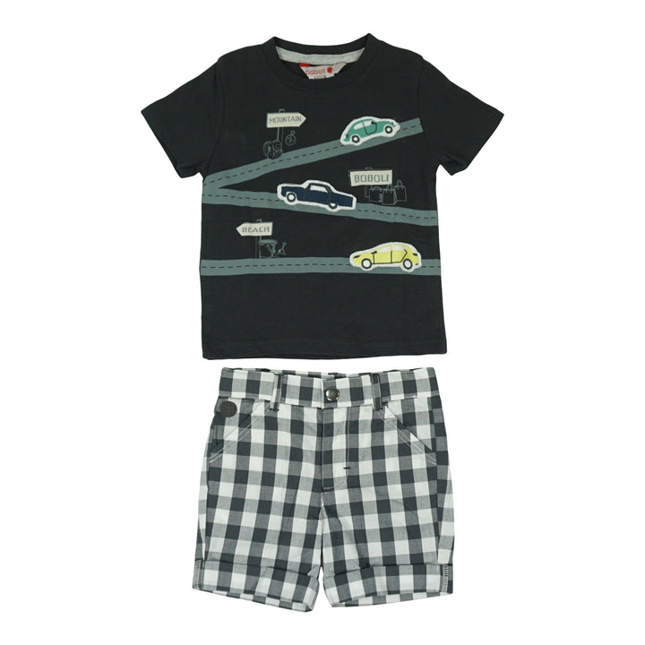 2 Piece Cars Tee and Plaid Short Set