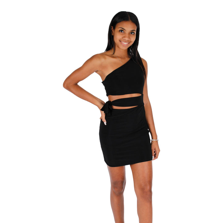 One Shoulder Cut Out Side Tie Dress