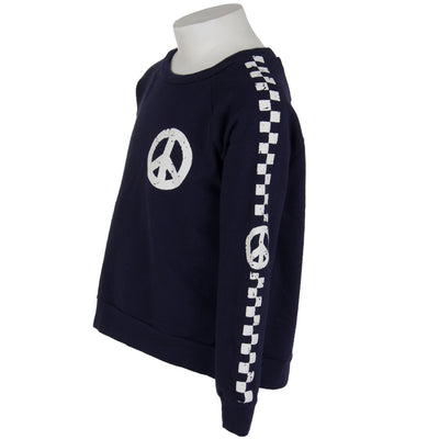 Long Sleeve Fleece Top with Stripe Peace