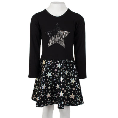 Long Sleeve Black Silver Star Dress
