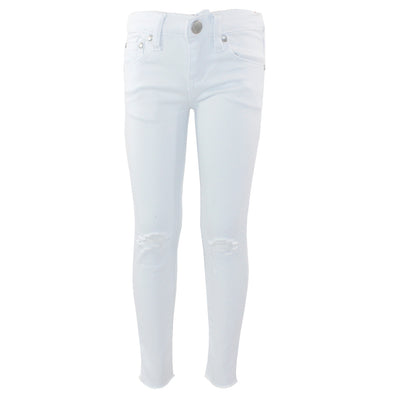 5 Pocket Skinny Jean with Rips On Knees and Raw Cuff Bottom