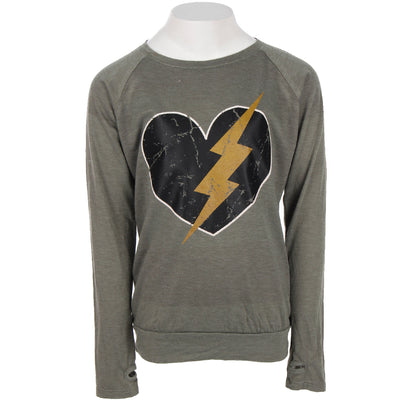 Long Sleeve Banded Top with Lightning Bolt Heart