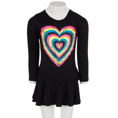 Long Sleeve Ruffle Dress with Neon Hearts