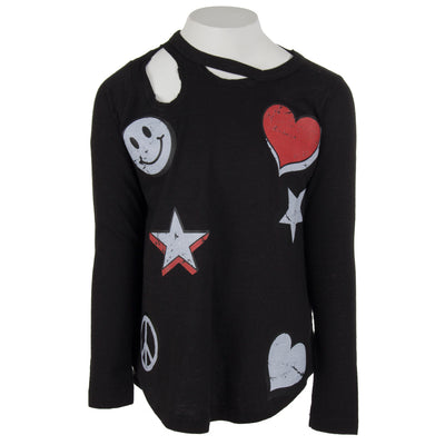 Long Sleeve Top Slash Neck with Icons