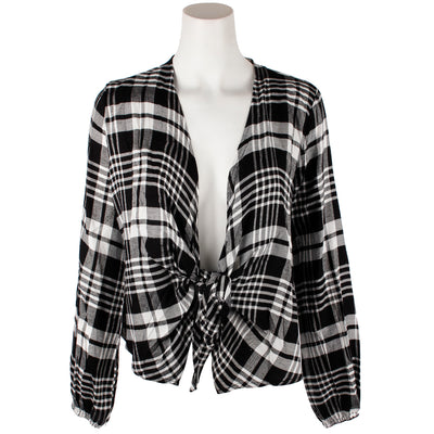 Plaid Tie Front Cardigan