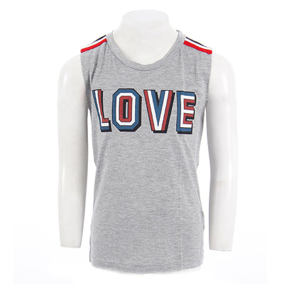 Short Sleeve Tee with Love and Striped Shoulders