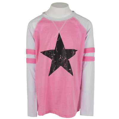 Long Sleeve Varsity Baseball Top with Black Star