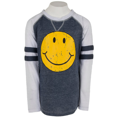 Long Sleeve Baseball Varsity Top with Smiley