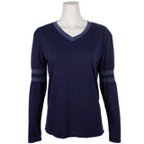Long Sleeve V-Neck with Stripe on Sleeve