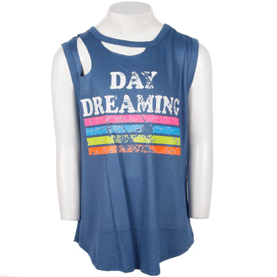 Clavical Cut Out Tank With Day Dreaming